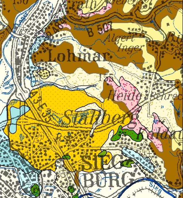 blau = Mittelterrasse, rosa = Hauptterrasse, orange = tertiäre Meeressedimente, hellgelb = Flugsand, gelb = Löss, braun = Schiefergebirge (Devon)