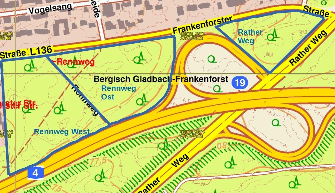 Übersicht über Frankenforst Südwest mit Abgrenzung der Teilflächen, Höhenlinien und Schutzgebietsgrenze